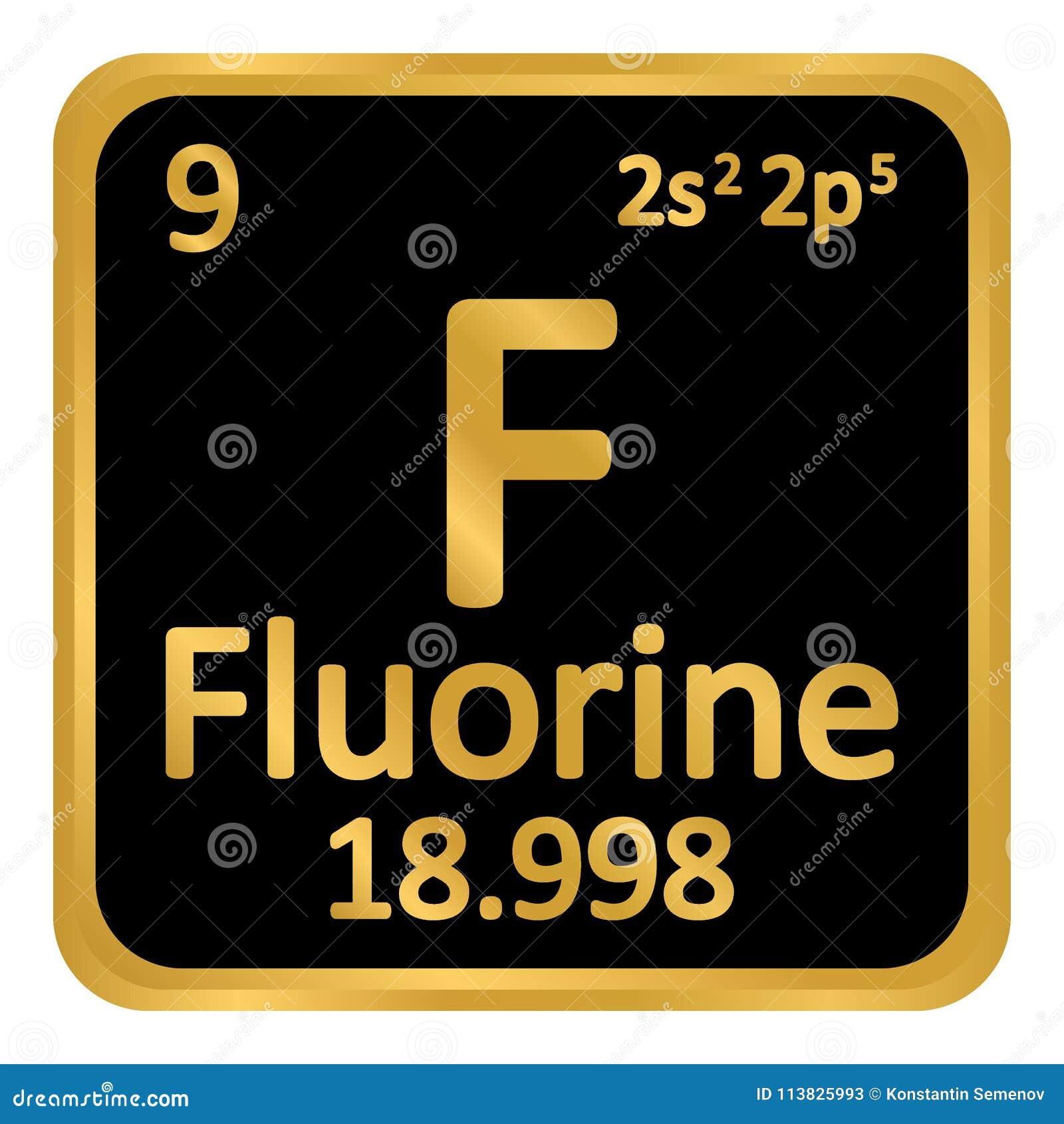 Symbol för fluor för beståndsdel för periodisk tabell