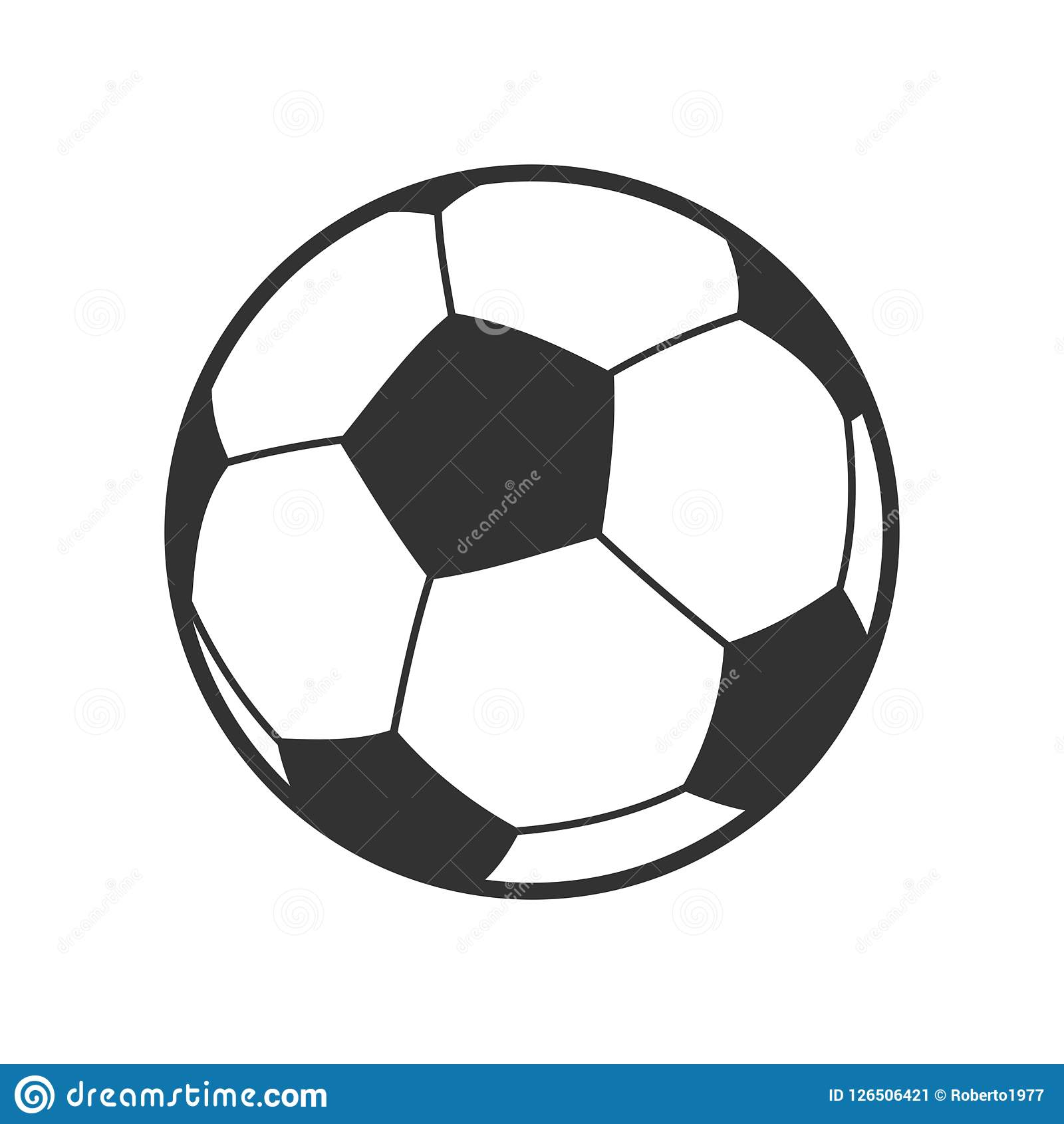 Symbol för fotboll- eller fotbollbollöversikt på vit