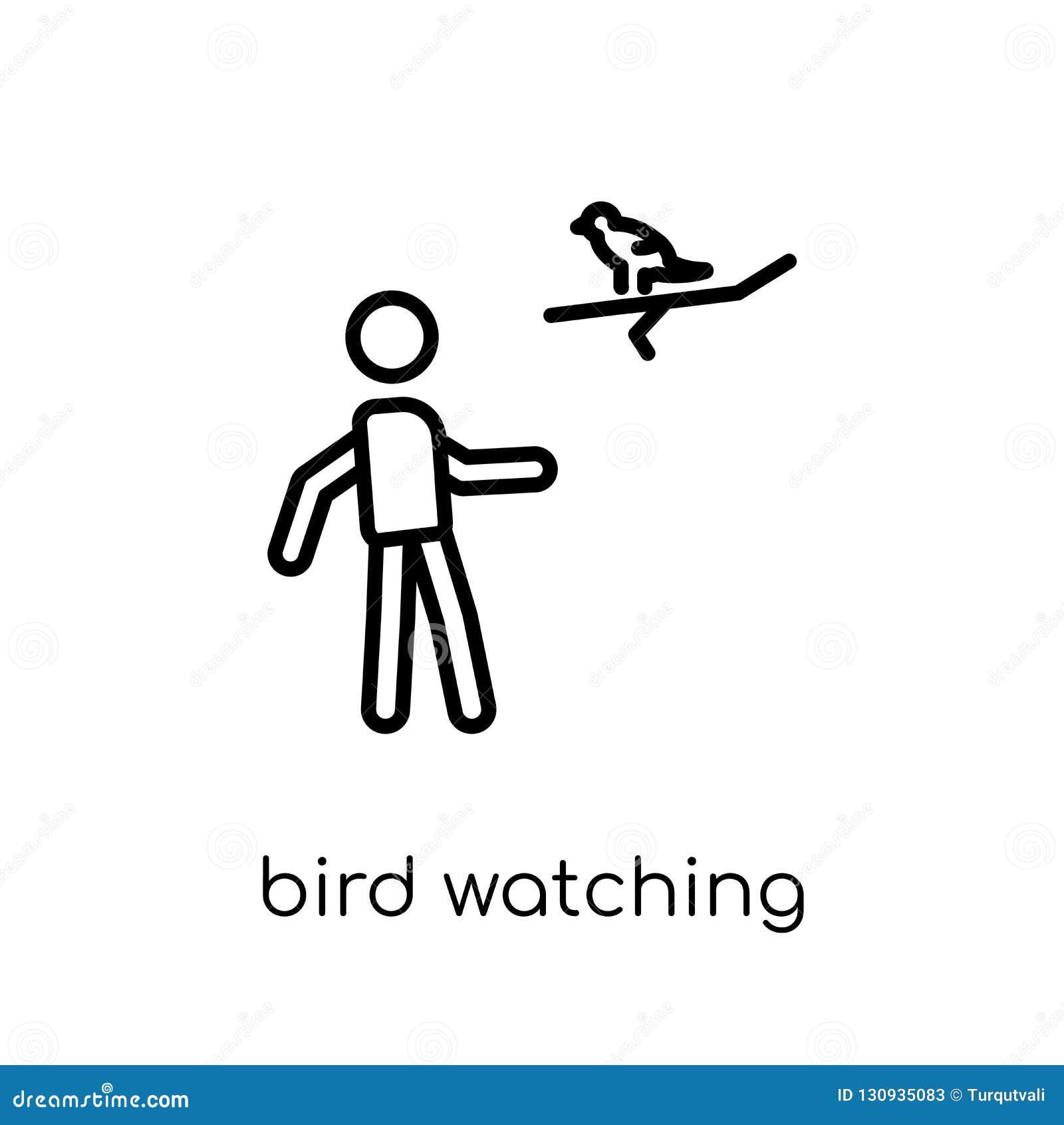 Symbol för hålla ögonen på för fågel Moderiktig modern plan linjär vektorfågelwatchi