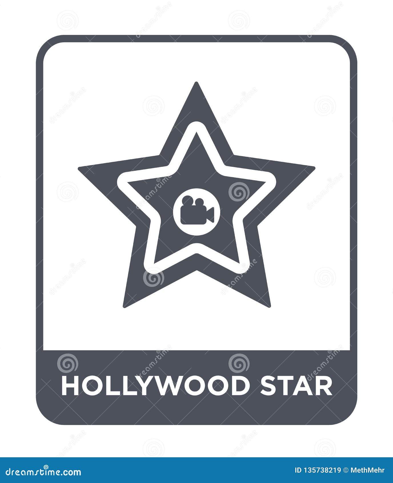 Symbol för hollywood stjärna i moderiktig designstil symbol för hollywood stjärna som isoleras på vit bakgrund enkel symbol för v