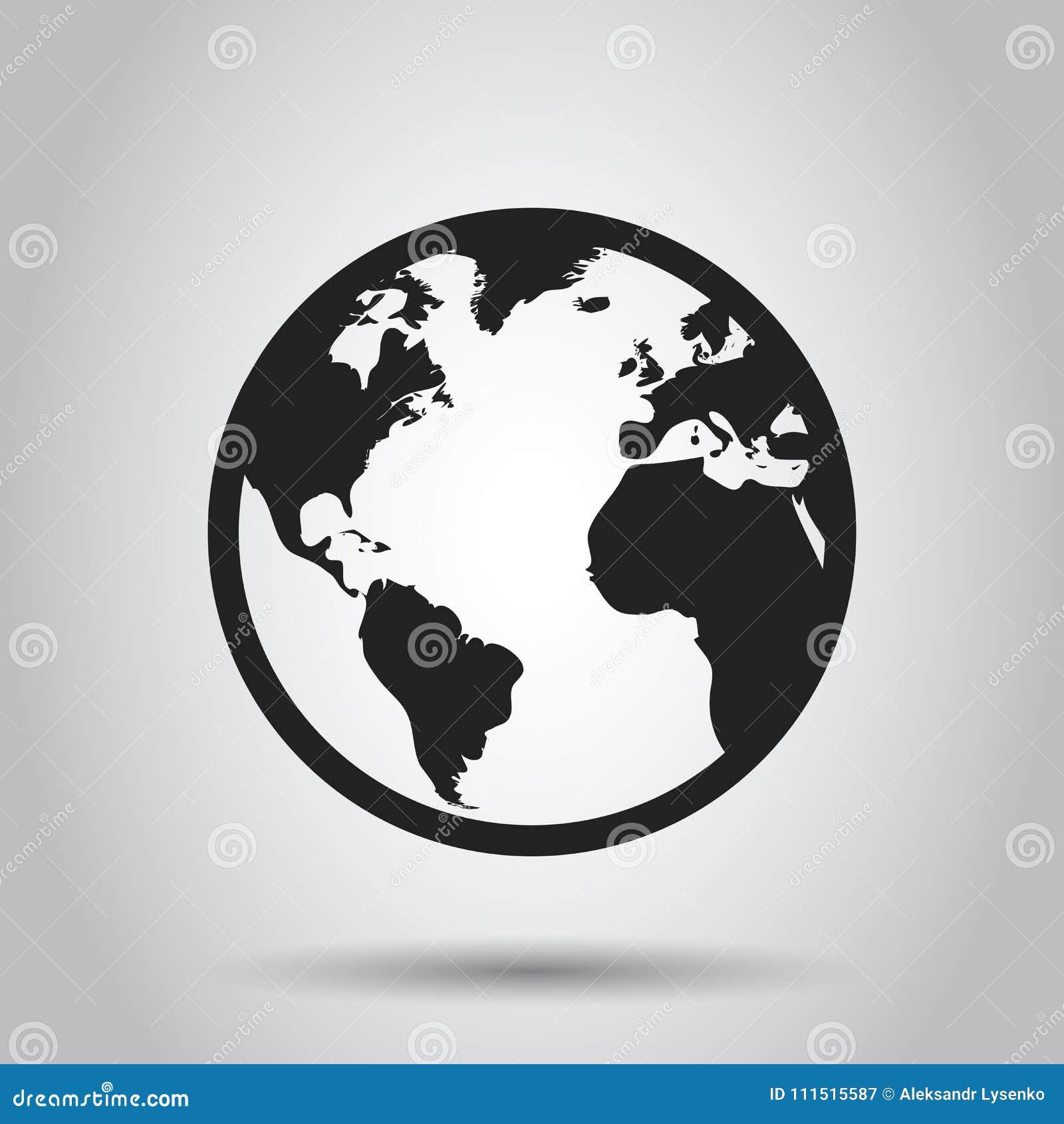 Symbol för jordklotvärldskartavektor Rund illustratio för jordlägenhetvektor