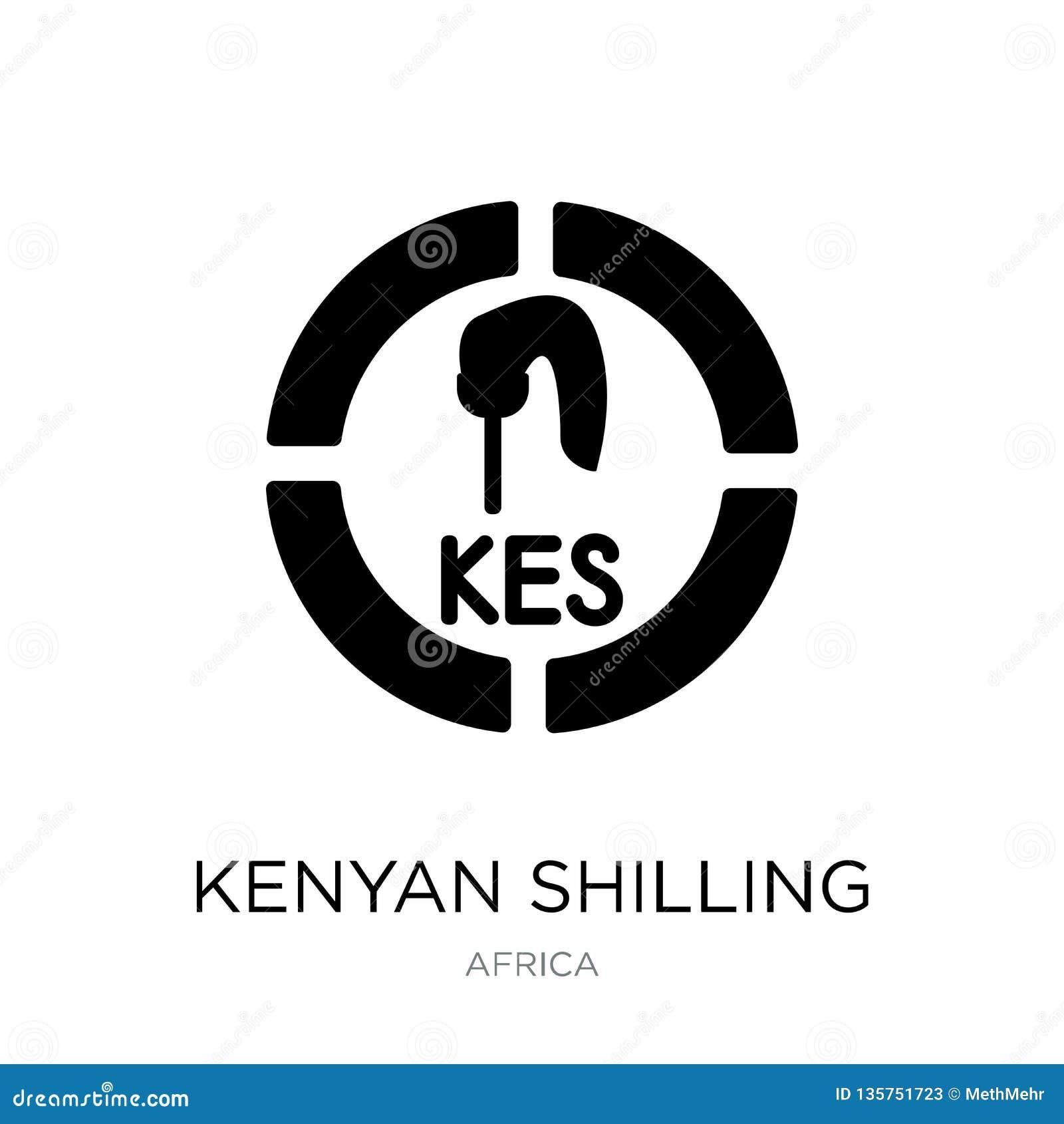 Symbol för kenyan shilling i moderiktig designstil symbol för kenyan shilling som isoleras på vit bakgrund enkel vektorsymbol för