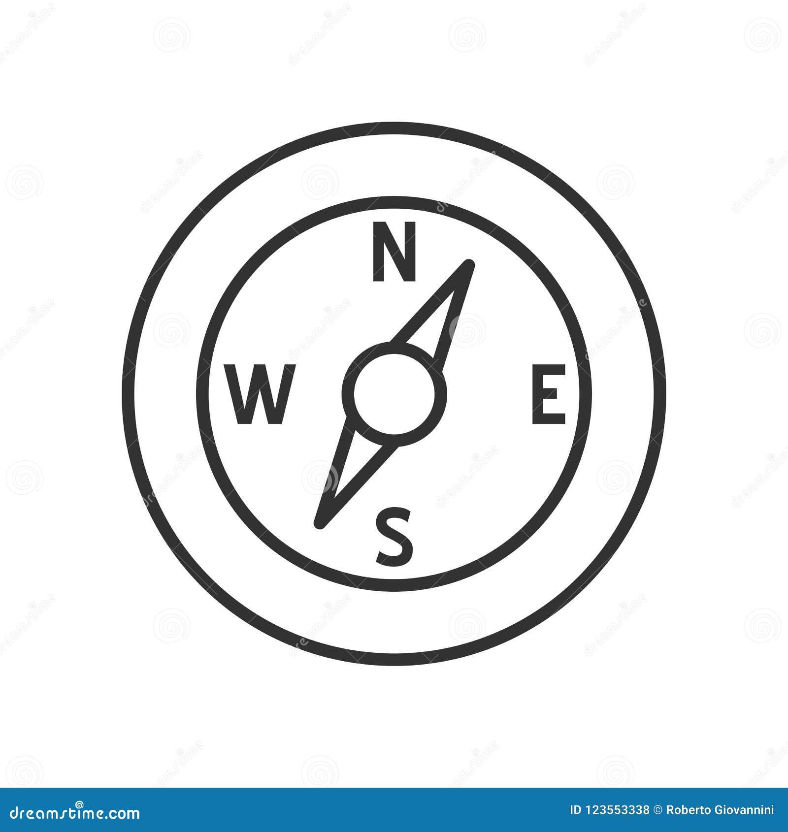Symbol för kompassöversiktslägenhet på vit