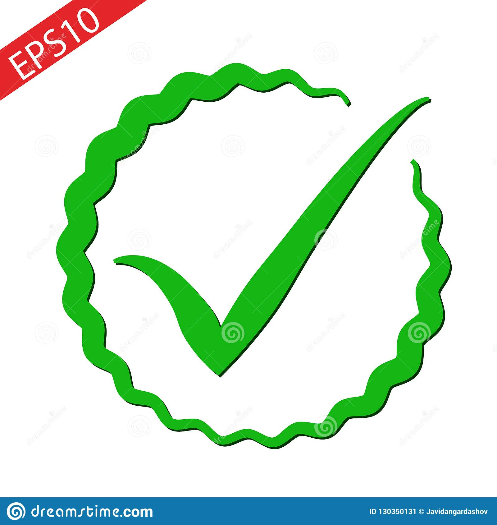 Symbol för kontrollfläck i plan stil Ok, acceptera vektorillustrationen på vit isolerad bakgrund Fästingaffärsidé EPS10