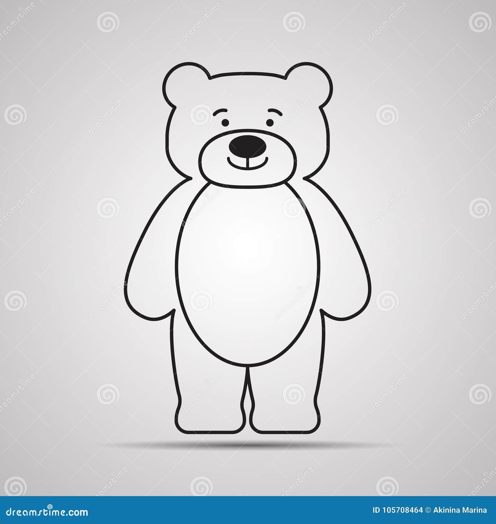 Symbol för konturbjörnlägenhet, enkel vektordesign med skugga Lycklig nalle-björn för tecknad film
