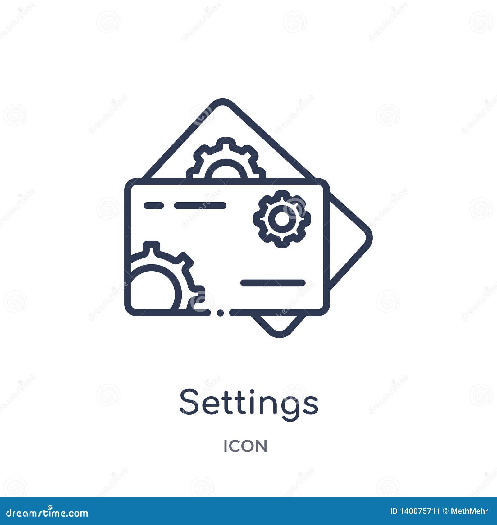 Symbol för kort för inställningsabstrakt begreppaffär från annan översiktssamling Tunn linje för affärskort för inställningar som