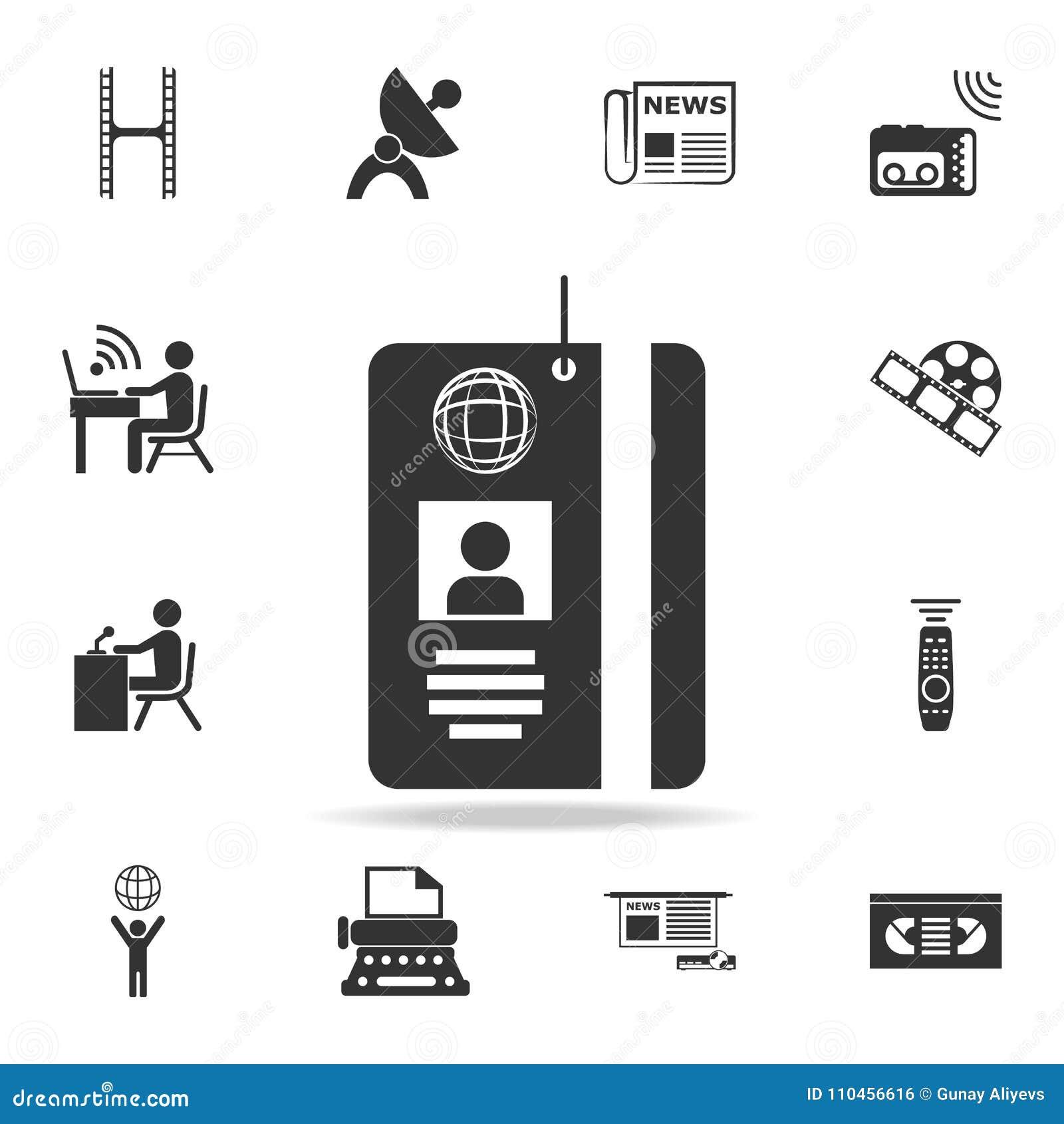 Symbol för kort för legitimation för presspasserande Detaljerade uppsättningsymboler av massmediabeståndsdelsymbolen Högvärdig kv