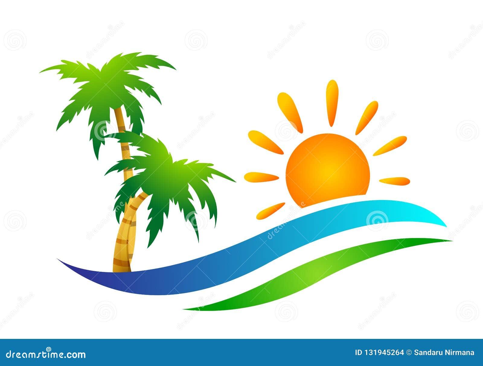 Symbol för kust för design för logo för vektor för palmträd för kokosnöt för strand för sommar för ferie för turism för hotell fö