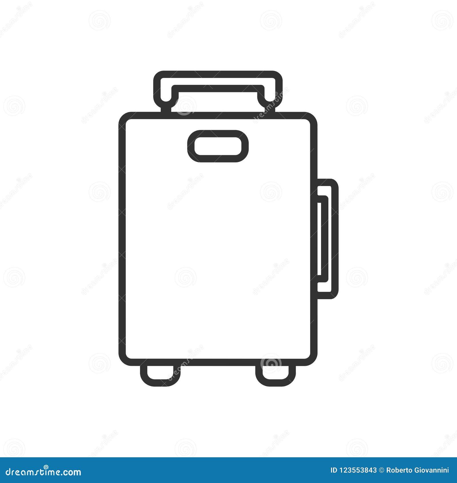Symbol för lägenhet för resväskapåseöversikt på vit