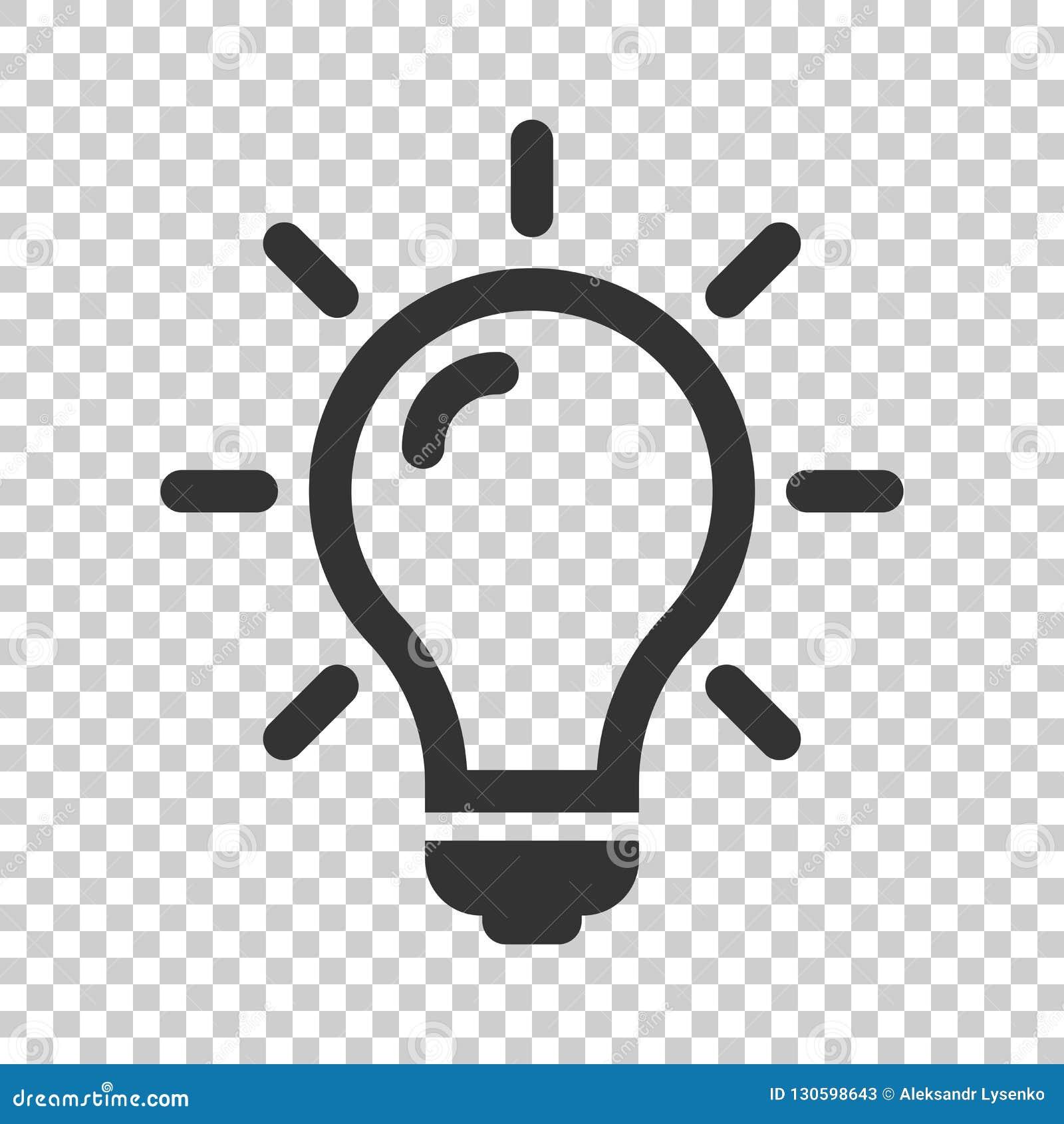 Symbol för ljus kula i plan stil Lightbulbvektorillustration på