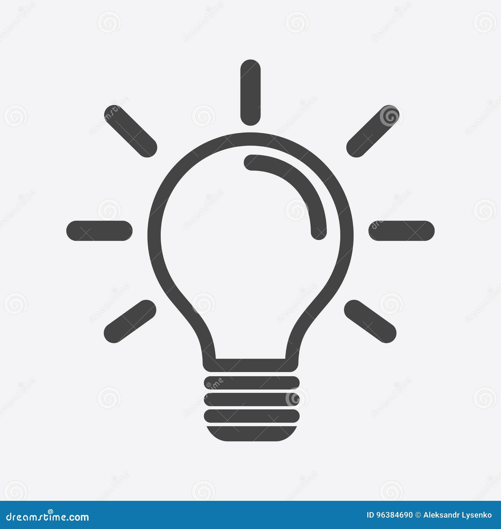 Symbol för ljus kula i vit bakgrund Plan vektorillustrati för idé