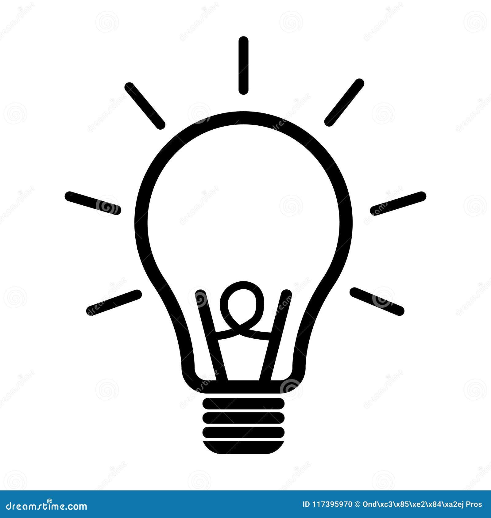 Symbol för ljus kula Plan vektorillustration för idé Symboler för designen, bakgrund, website