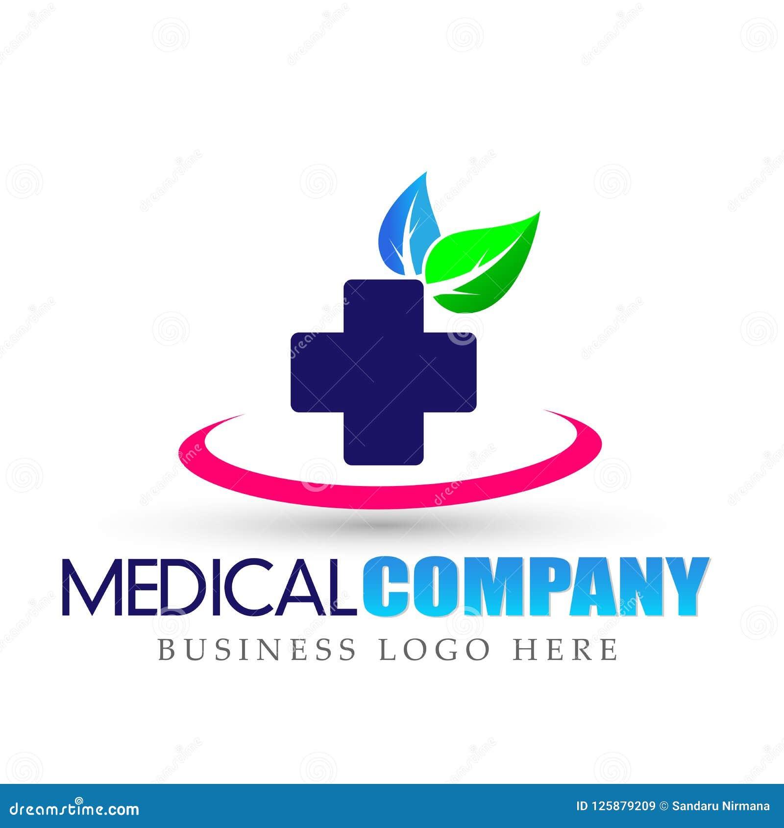 Symbol för logo för blad för natur för hälsovårdläkarundersökningkors på vit bakgrund