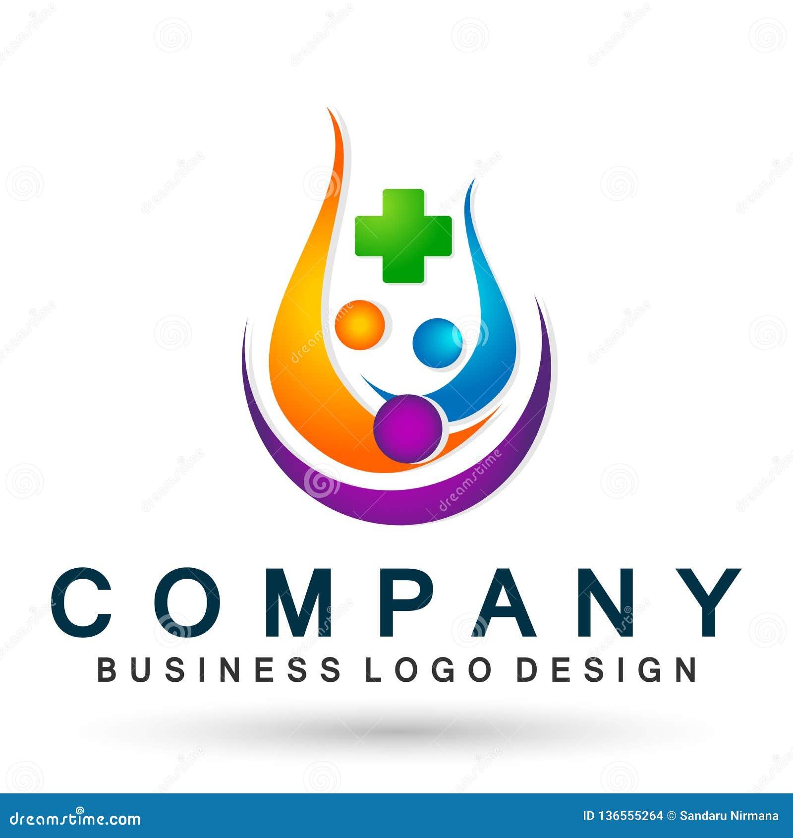 Symbol för logo för folkfamiljmedicinsk vård som tillsammans segrar symbol för wellness för framgång för lag för lyckahälsa vård-