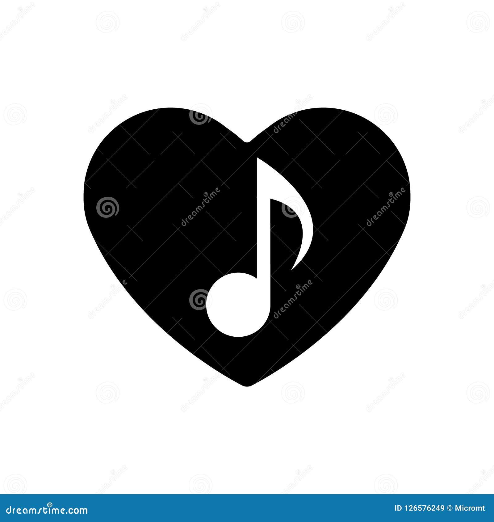 Symbol för musikalisk anmärkning i svart hjärta Göra perfekt förälskelsesymbolet Isolerat valentindagtecken Plan stil för diagram