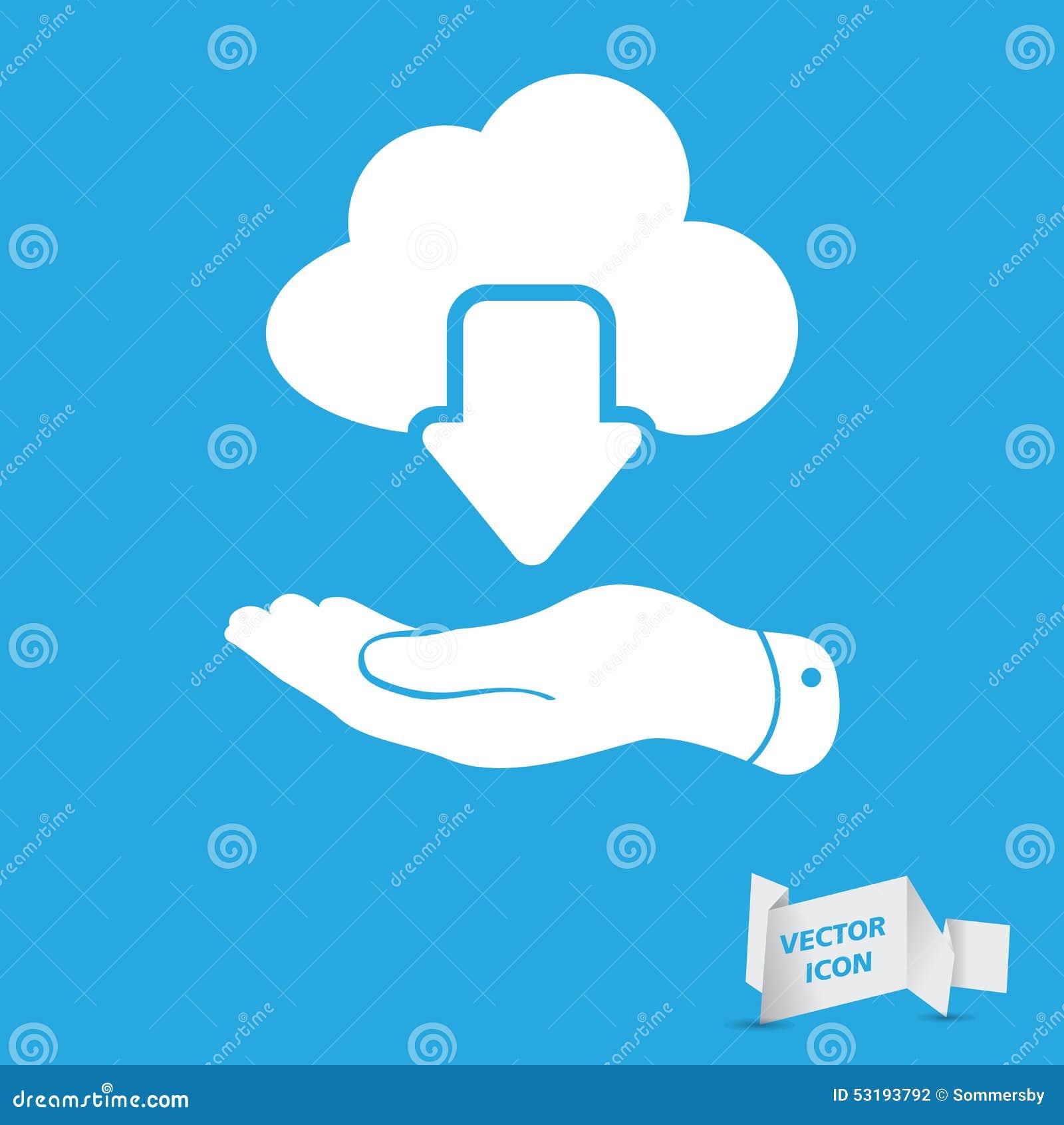 Symbol för nedladdning för plant moln för handvisning vitt beräknande på en blått