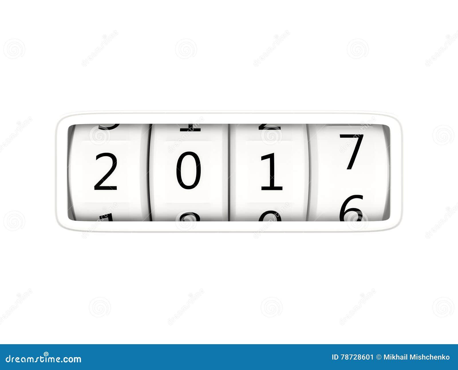 Symbol för nytt år som 2017 isoleras på vit