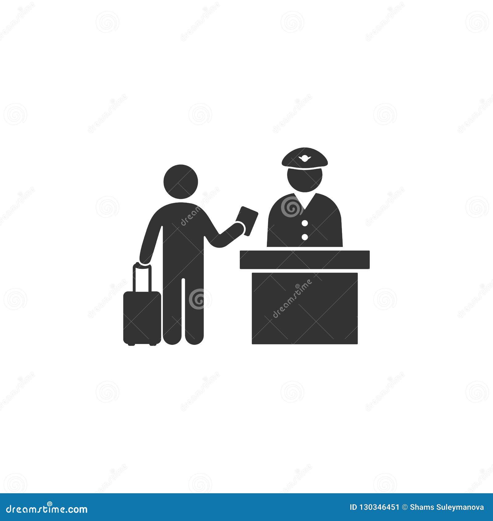 Symbol för passkontroll Beståndsdel av flygplatssymbolen för mobila begrepps- och rengöringsdukapps Den specificerade symbolen fö