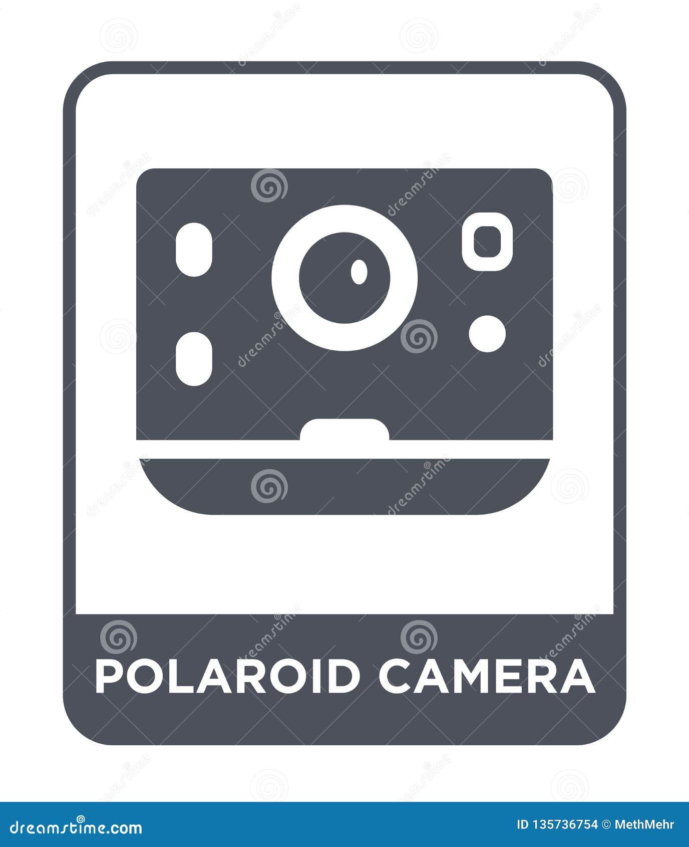 Symbol för polaroid kamera i moderiktig designstil symbol för polaroid kamera som isoleras på vit bakgrund enkel vektorsymbol för