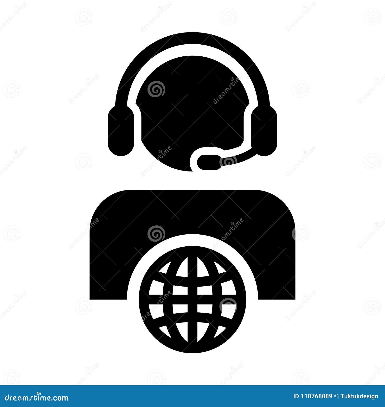 Symbol för profil för manlig person för kundtjänstsymbolsvektor med hörlurar med mikrofon för online-service för internetnätverk