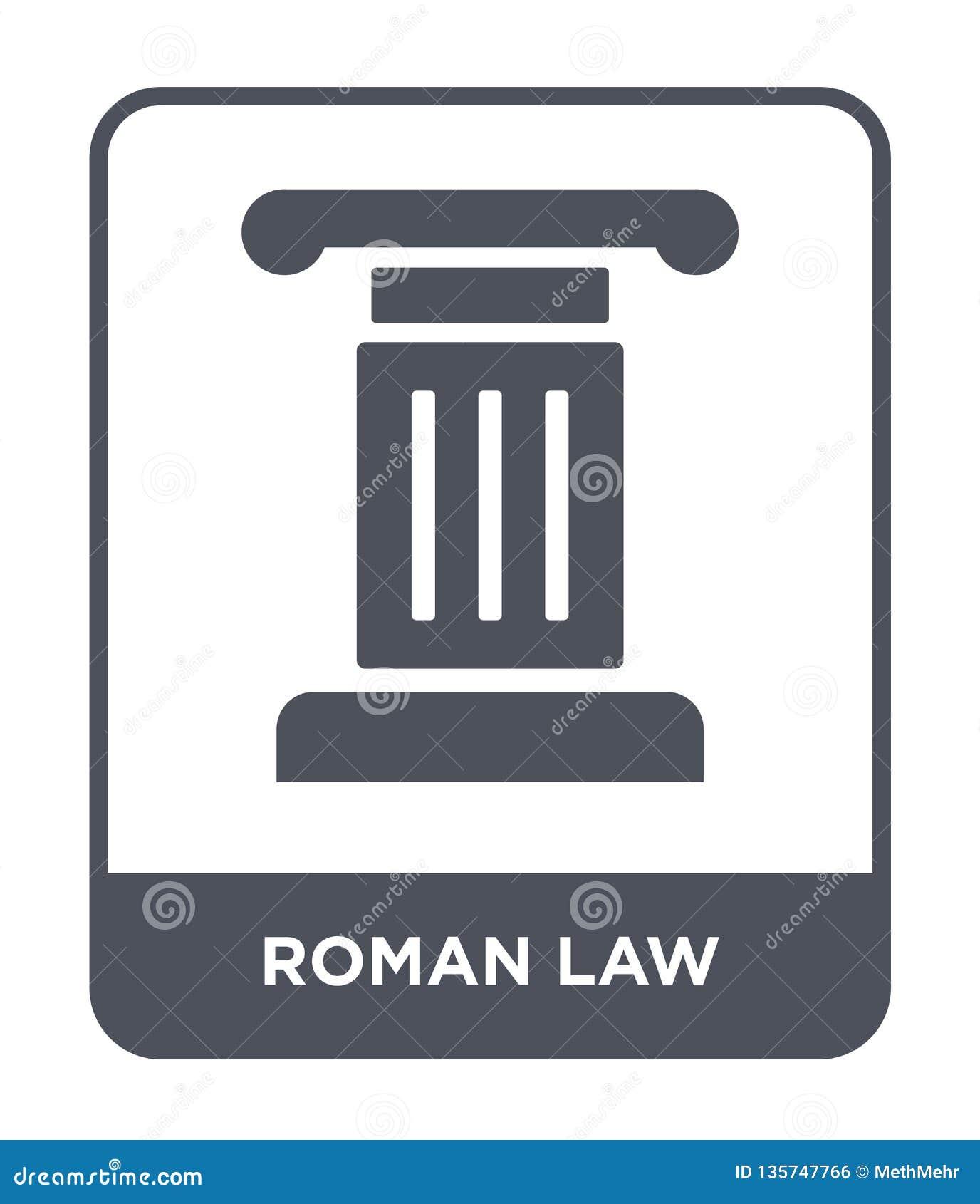 Symbol för roman lag i moderiktig designstil symbol för roman lag som isoleras på vit bakgrund för vektorsymbol för roman lag enk