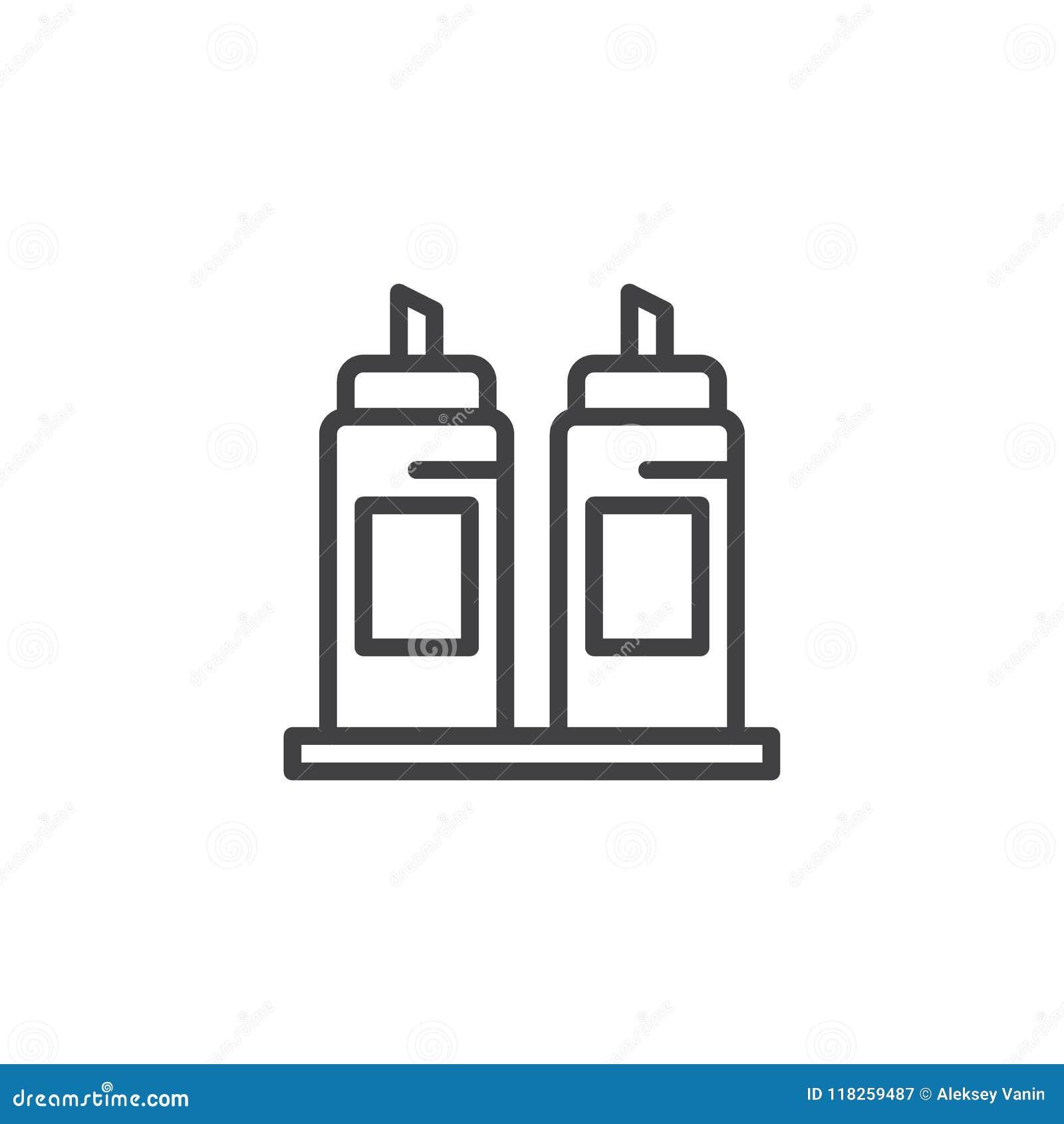 Symbol för senap- och ketchupflasköversikt