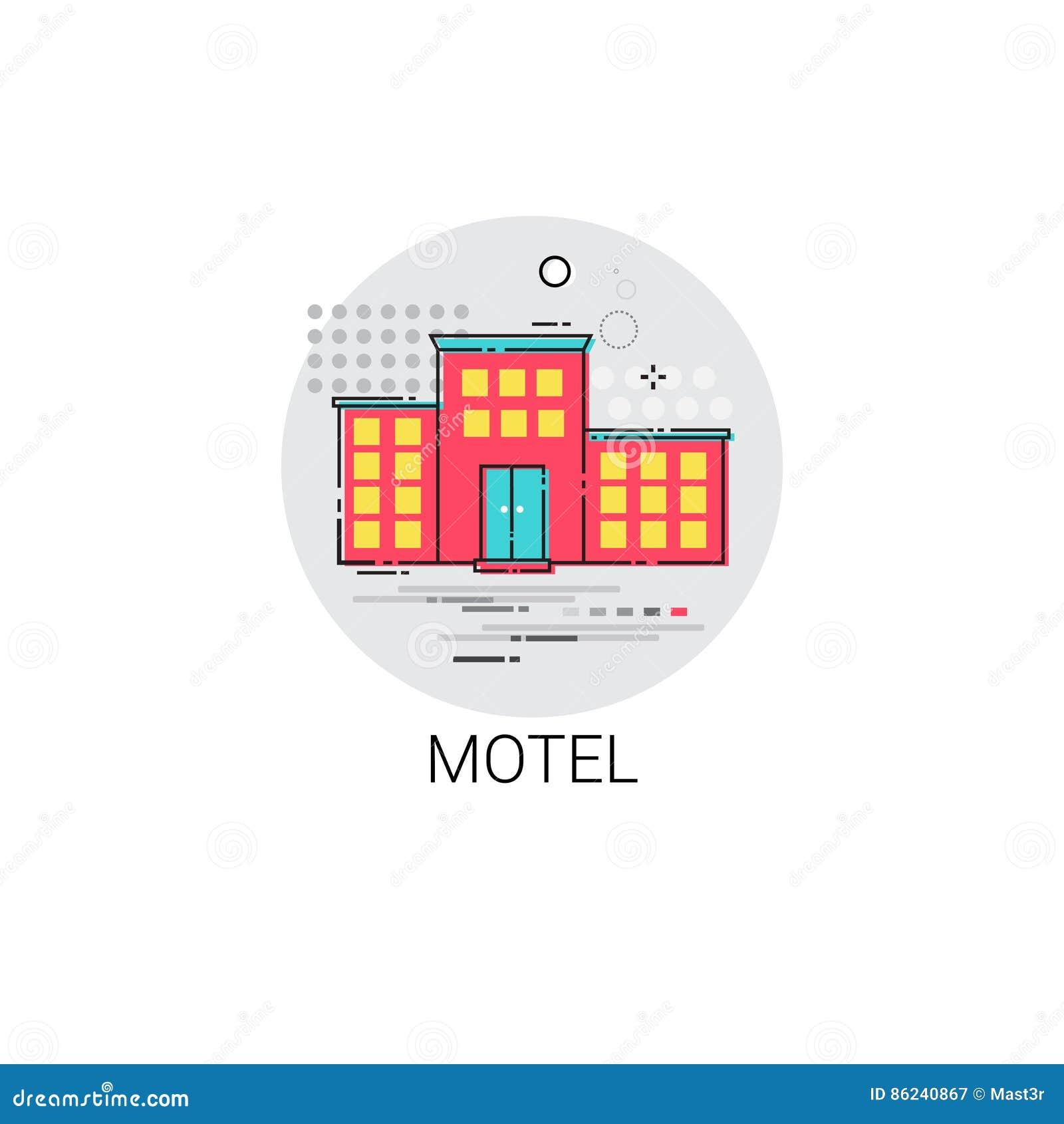 Symbol för service för motellbyggnadslägenhet
