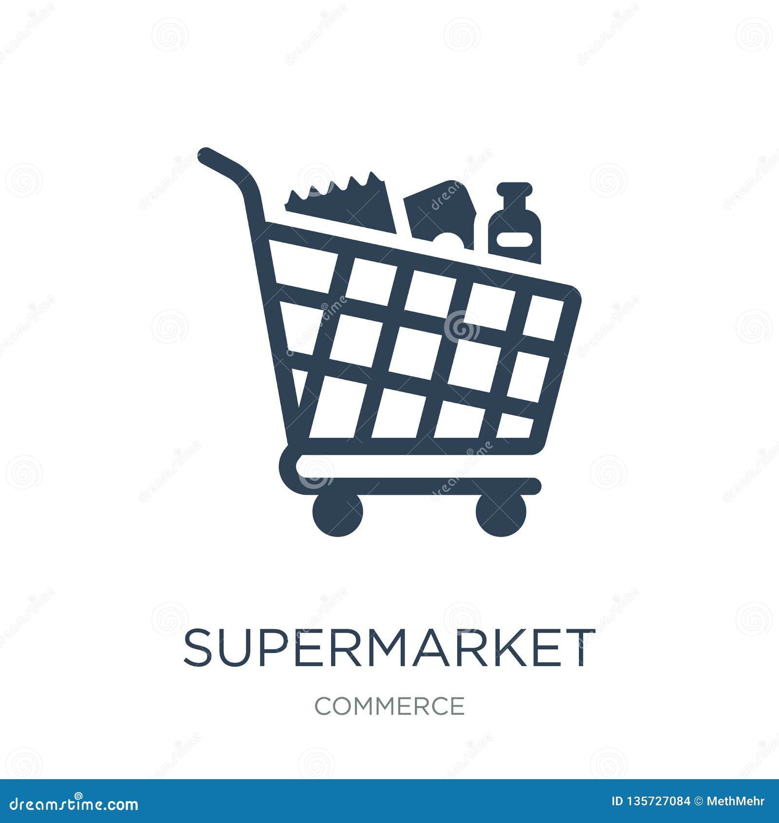 Symbol för supermarketshoppingvagn i moderiktig designstil symbol för supermarketshoppingvagn som isoleras på vit bakgrund superm