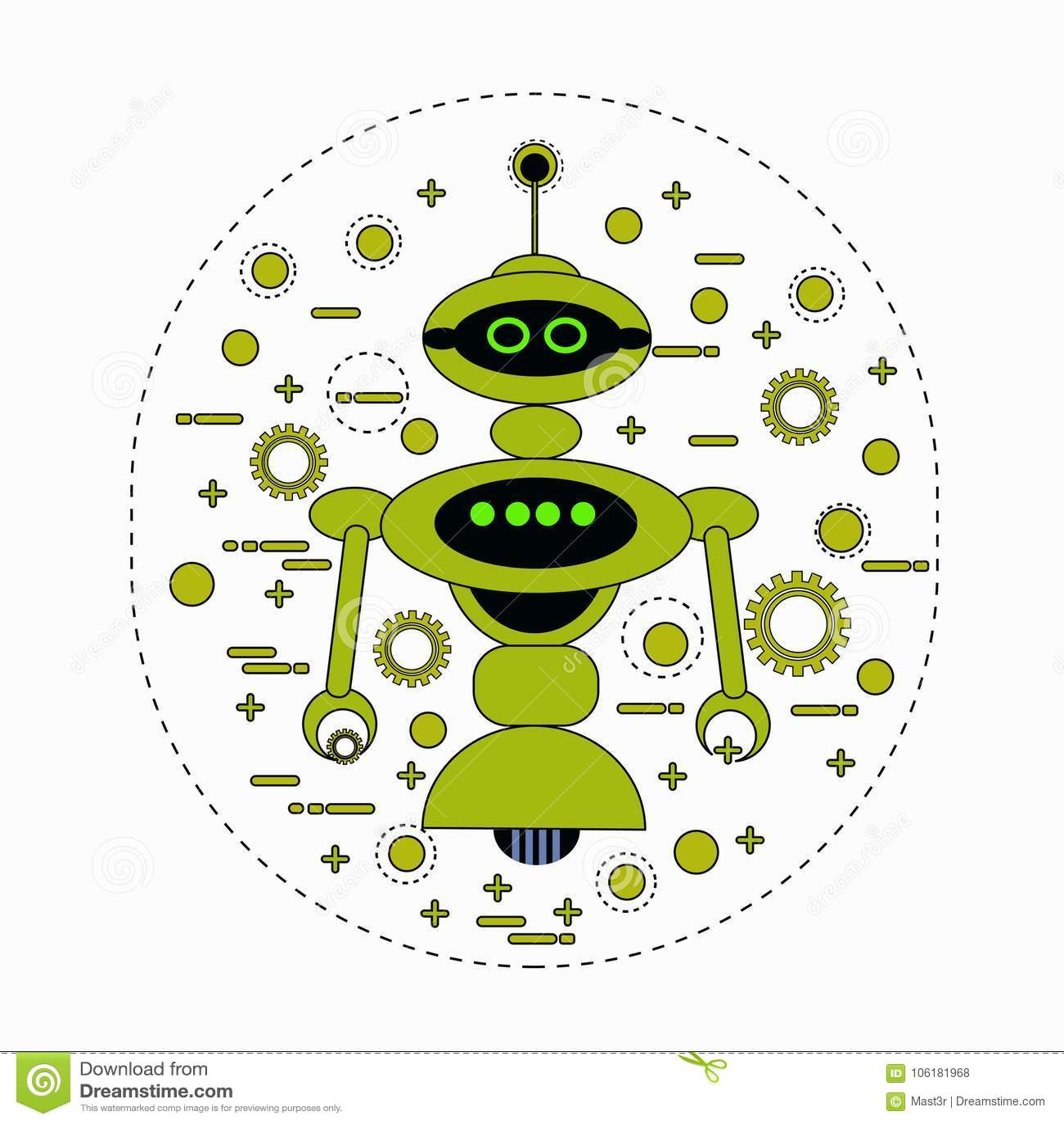 Symbol för tappning för tecken för gullig robottecknad film Robotic