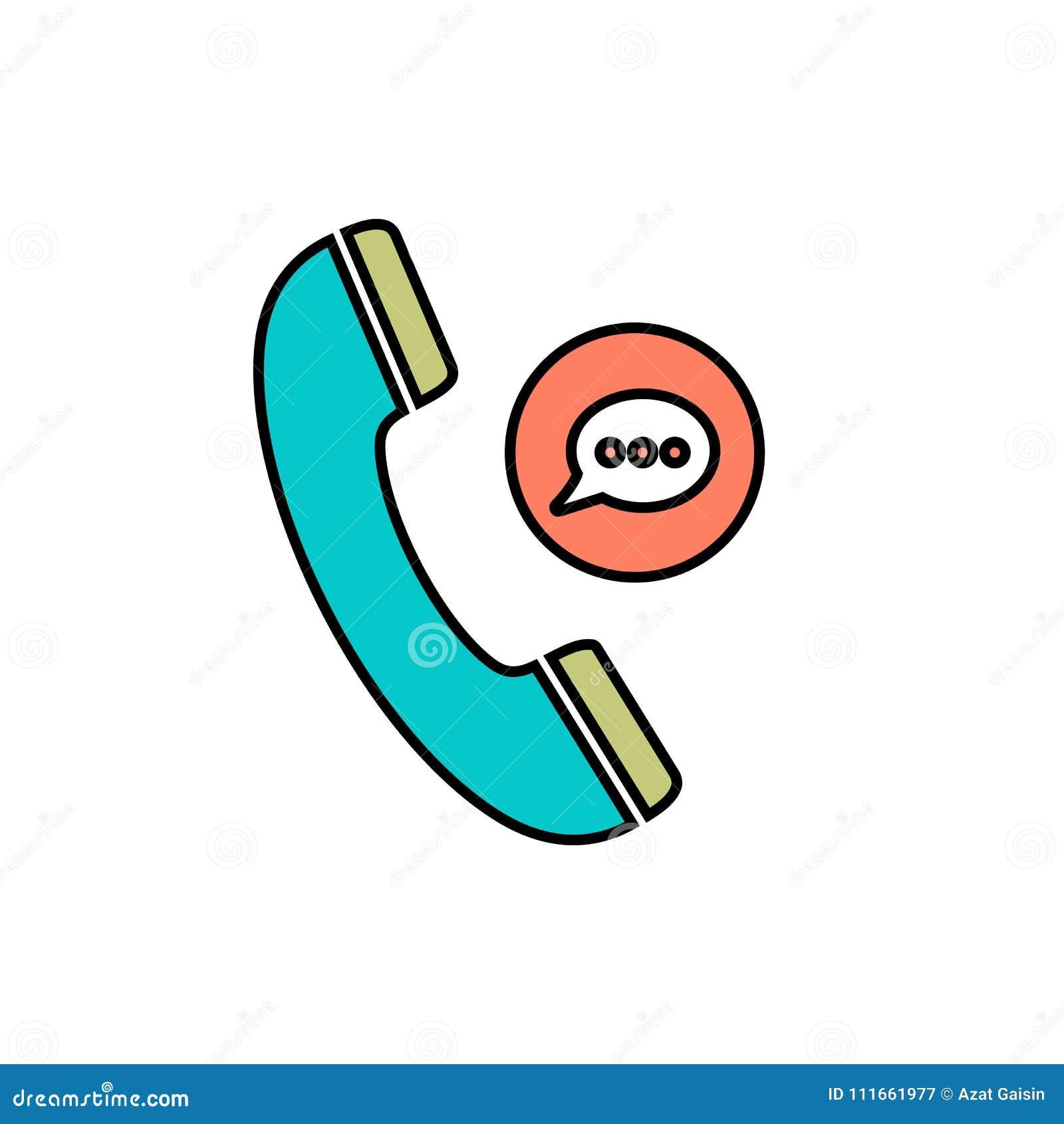 Symbol för telefon för bubbla för anförande för pratstundkommunikationstelefon talande