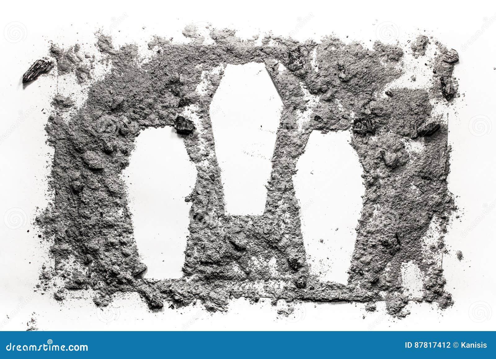 Symbol för tre cascet som göras i askaen, damm, som mas-mord, brott, krig