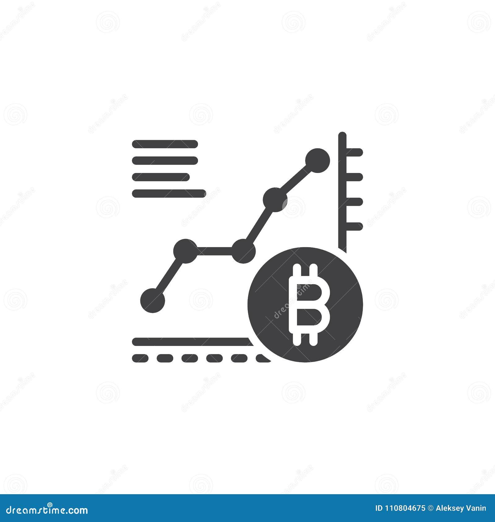 Symbol för vektor för Bitcoin tillväxtdiagram