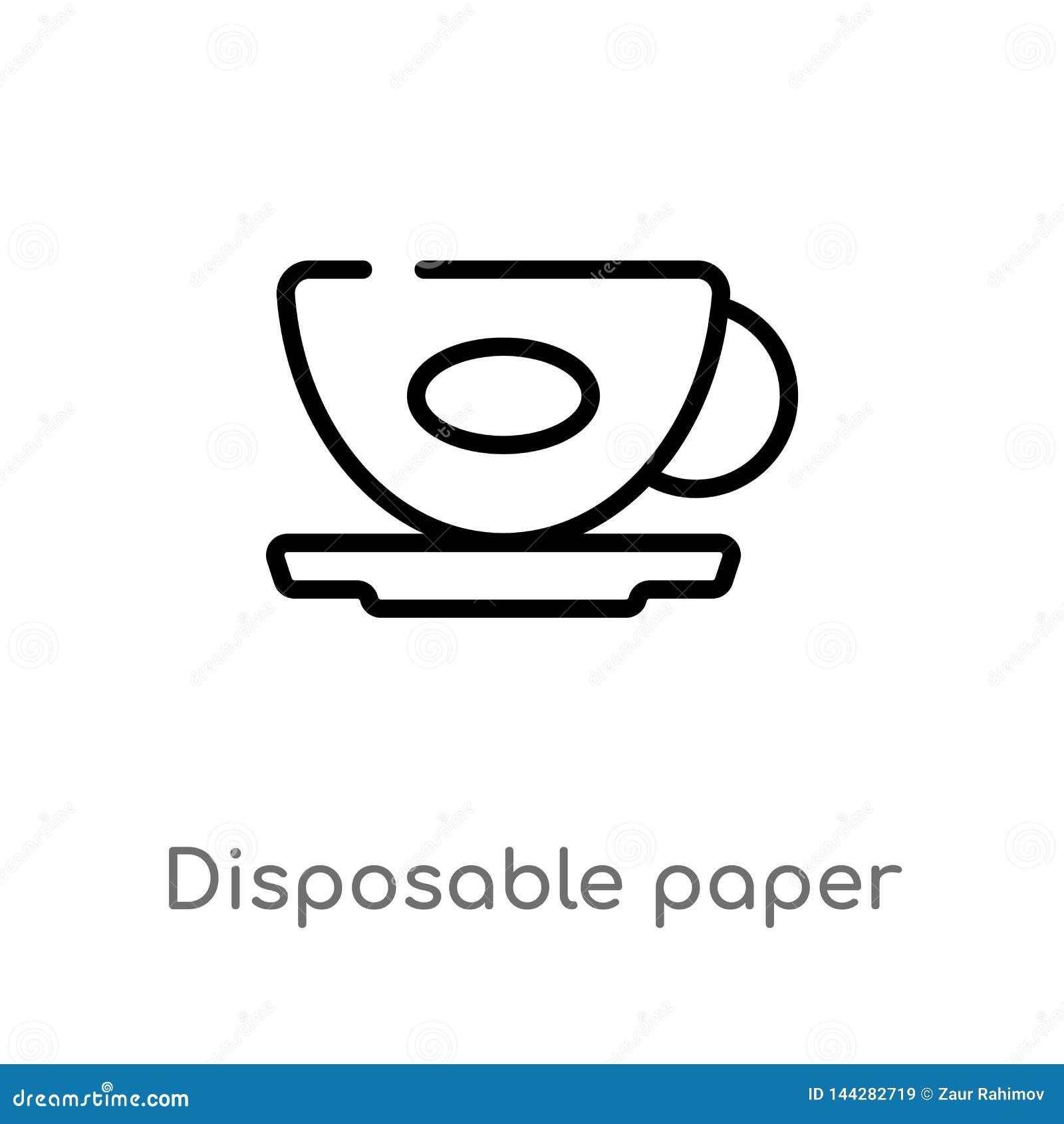 Symbol f?r vektor f?r pappers- kopp f?r ?versikt disponibel isolerad svart enkel linje best?ndsdelillustration fr?n matbegrepp Re