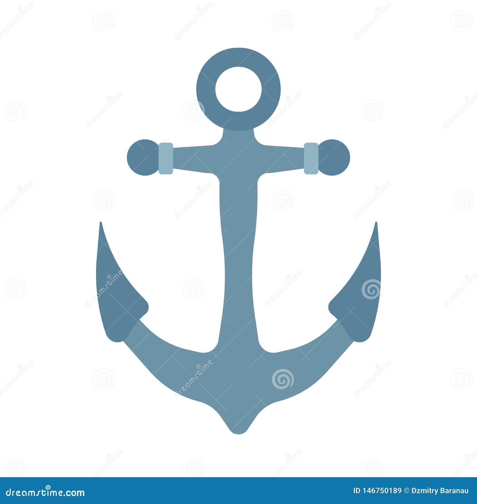 Symbol för vektor för skeppankarhav nautisk Fartyg för havvattenillustration Gammal styrande beståndsdel för teckenjärnutrustning