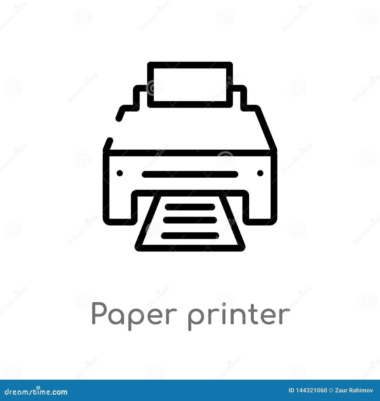 Symbol för vektor för skrivare för översiktspapper isolerad svart enkel linje best?ndsdelillustration fr?n teknologibegrepp Redig