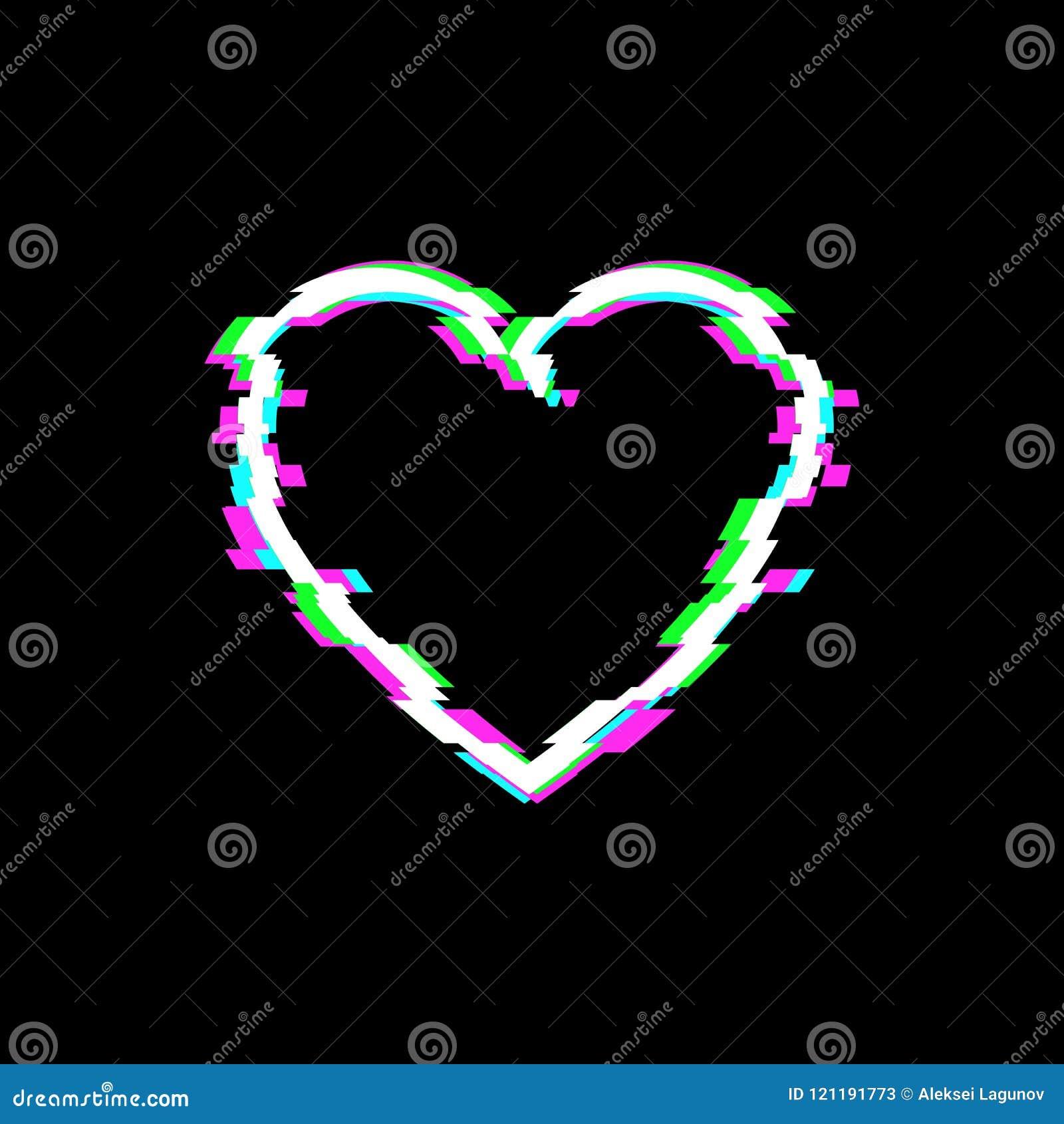 Symbol för vektortekniskt felhjärta, teknologiillustrationbakgrund, vitt förälskelsesymbol
