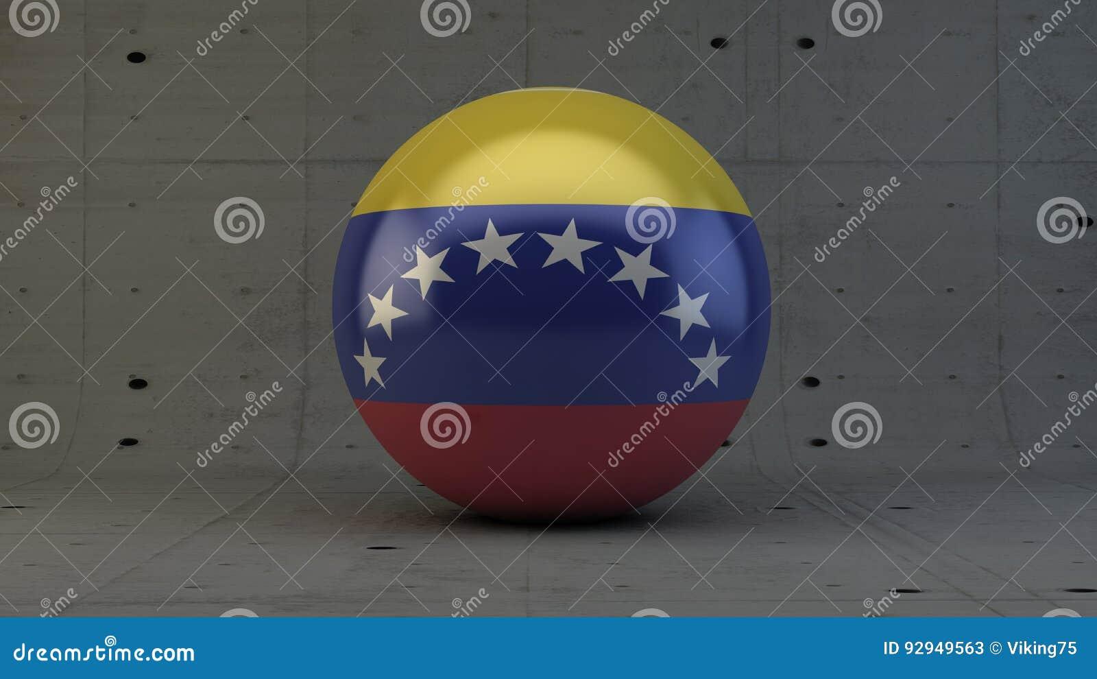 Symbol för Venezuela flaggasfär i konkret rum
