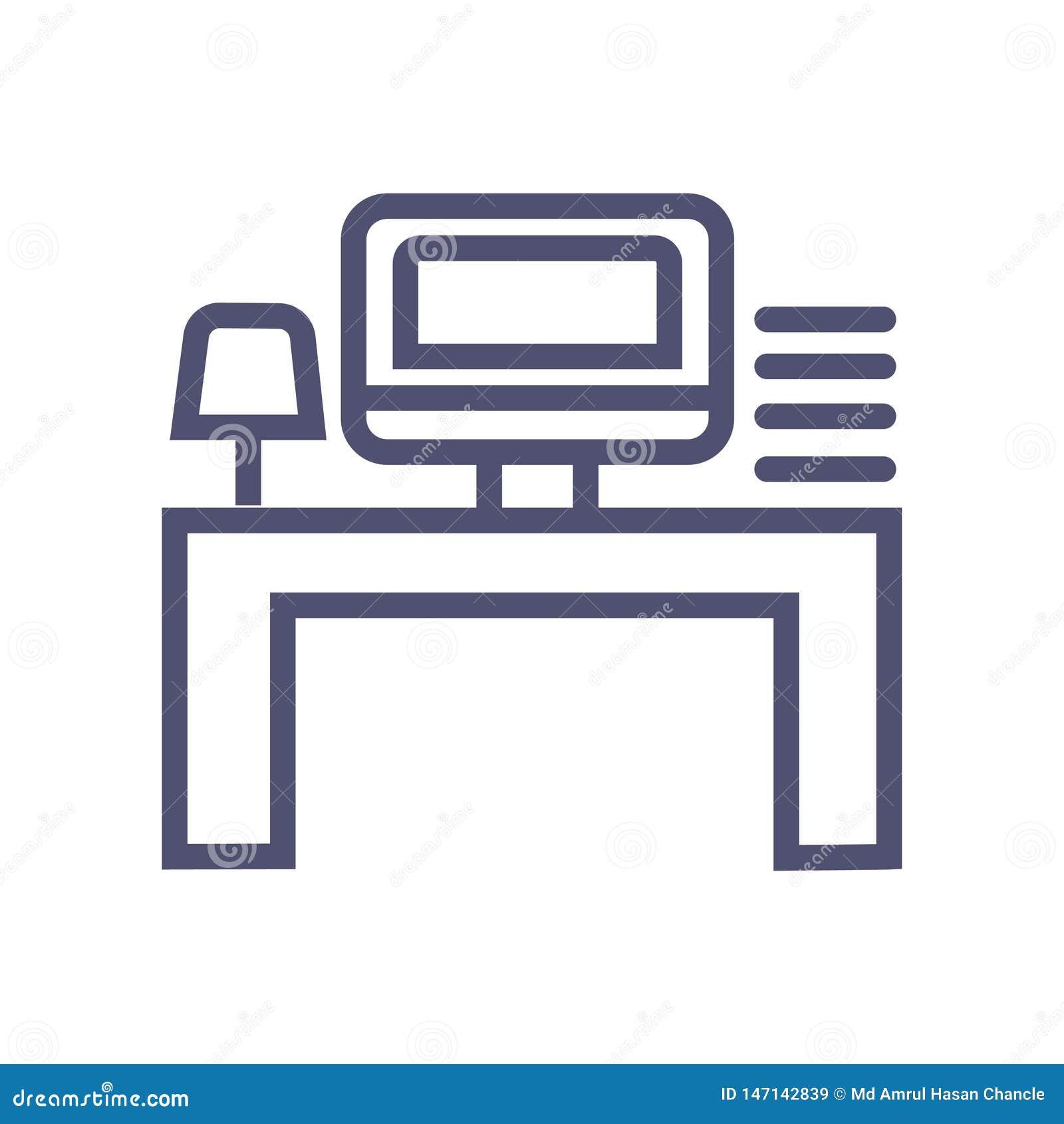 Symbol f?r arbete f?r arbetsst?lle eller kontors Vektorsymbol med datortabelllampan och mini- sj?lv