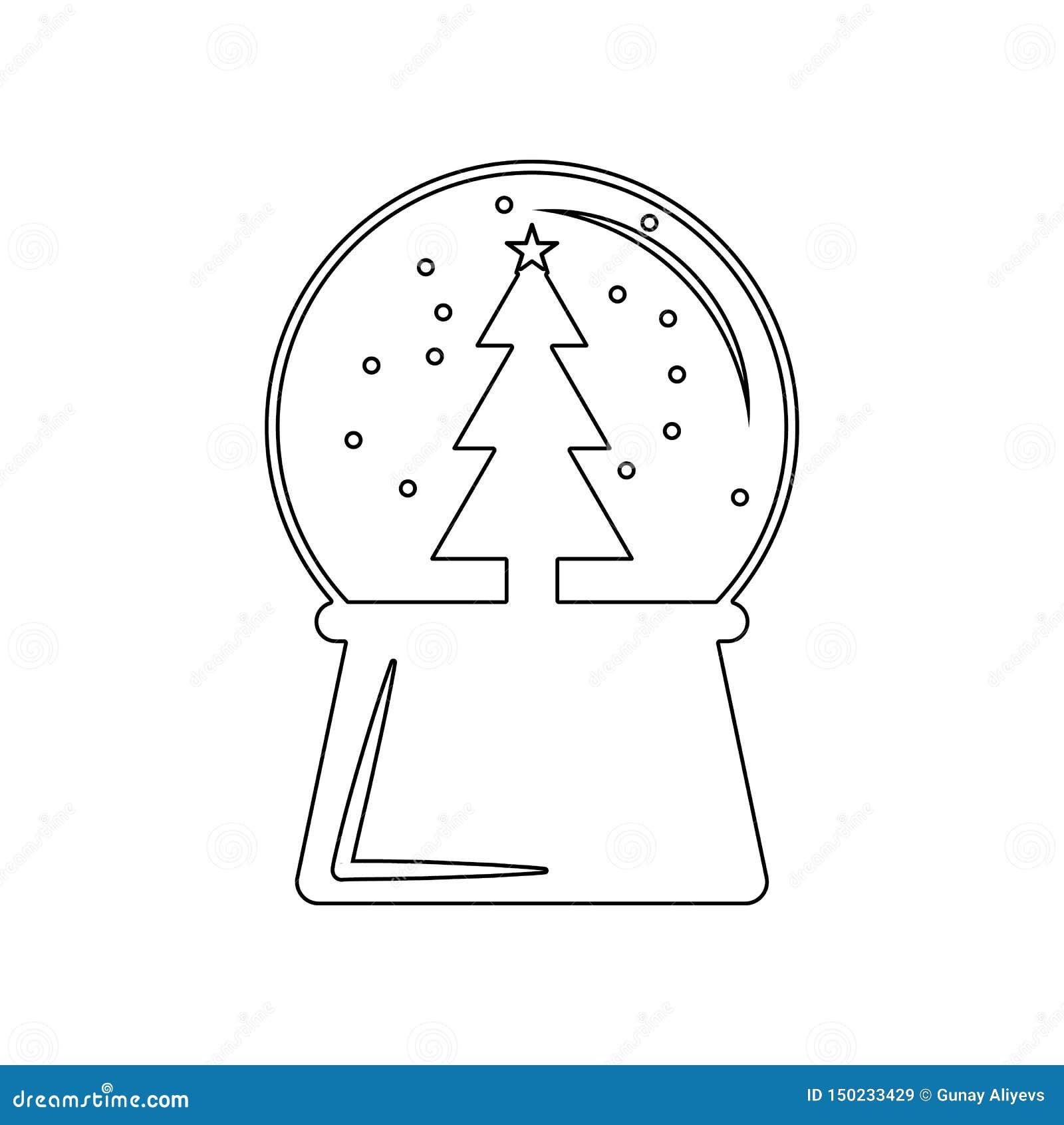 Symbol f?r chrismas f?r nytt ?r f?r sn?jordklotboll Best?ndsdel av vintern f?r mobilt begrepp och reng?ringsdukappssymbol ?versik