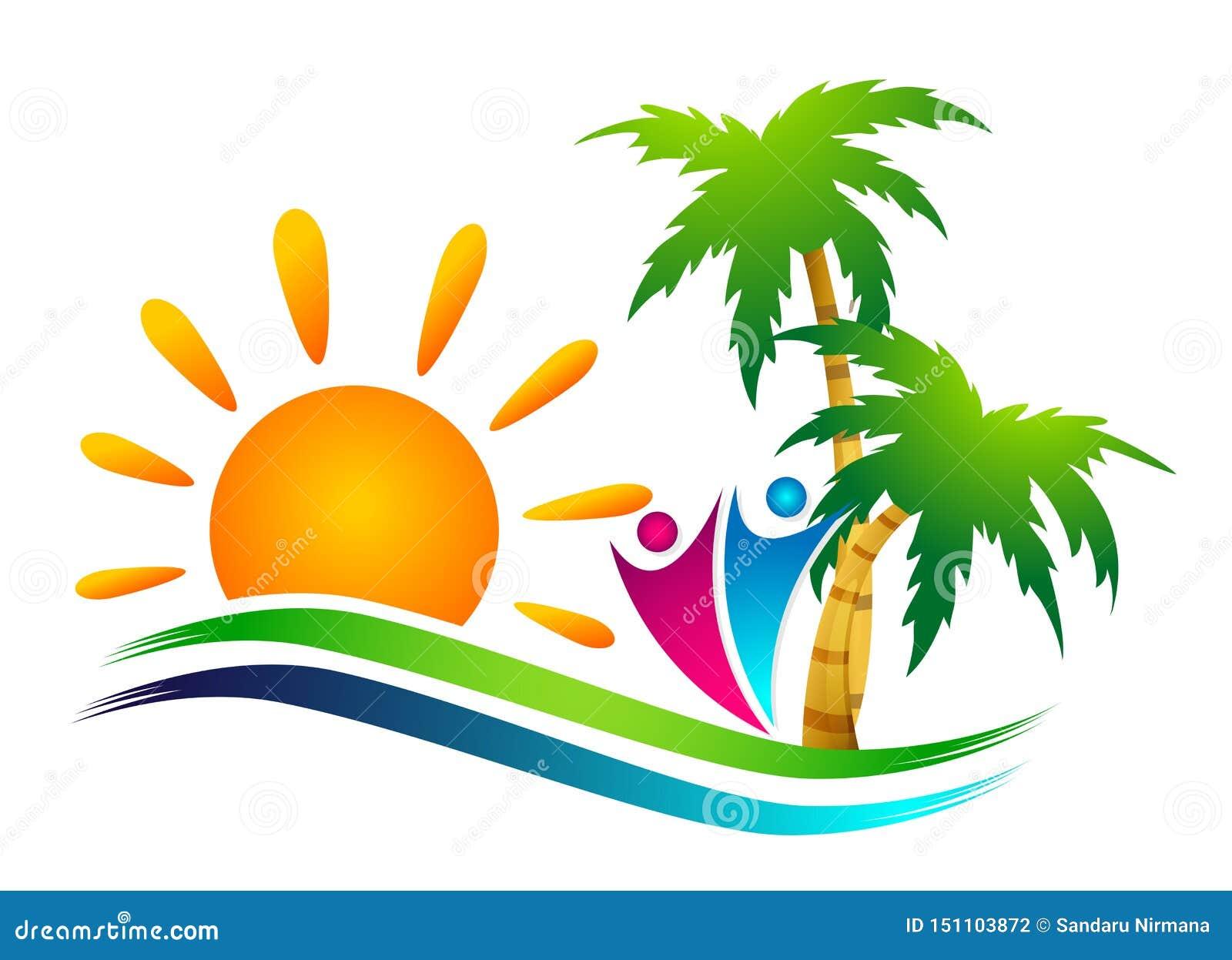 Symbol f?r kust f?r design f?r logo f?r vektor f?r palmtr?d f?r kokosn?t f?r strand f?r sommar f?r ferie f?r turism f?r hotell f?