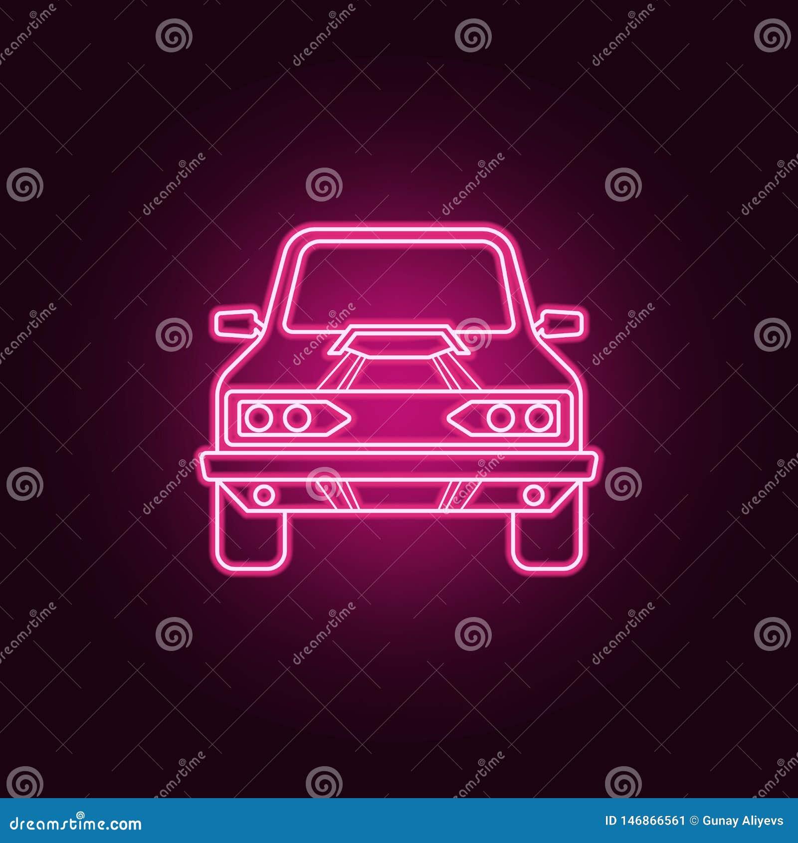 Symbol f?r neon f?r muskelbil fr?mre Best?ndsdelar av den bigfoot bilupps?ttningen Enkel symbol f?r websites, reng?ringsdukdesign