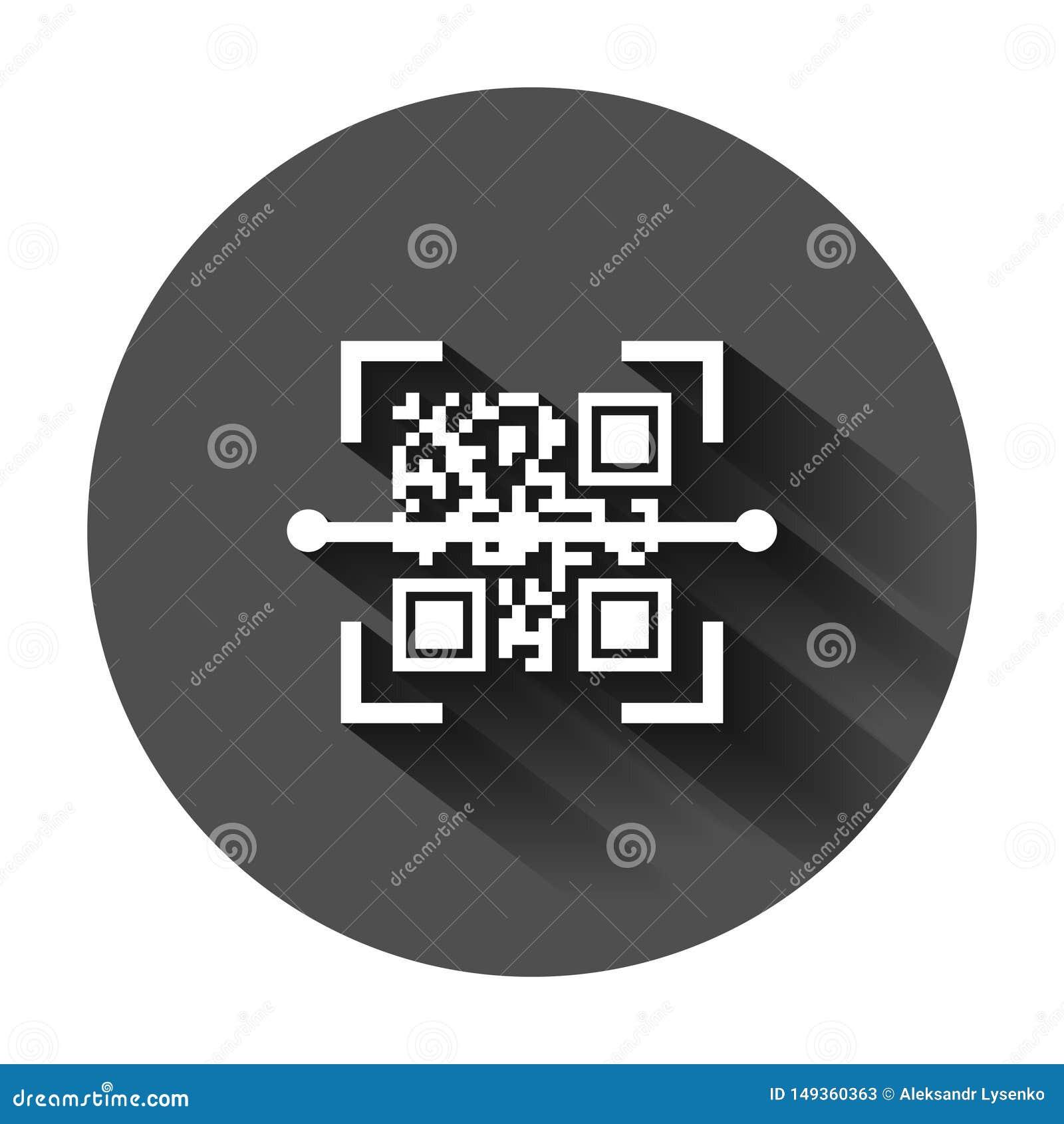 Symbol f?r Qr kodbildl?sning i plan stil Illustration f?r bildl?sarID-vektor p? svart rund bakgrund med l?ng skugga Barcodeaff?r