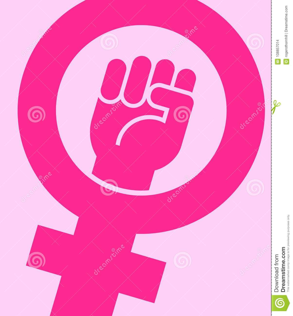 Symbol for female combined with raised fist stock vector symbol for female combined with raised fist poster equal buycottarizona Image collections