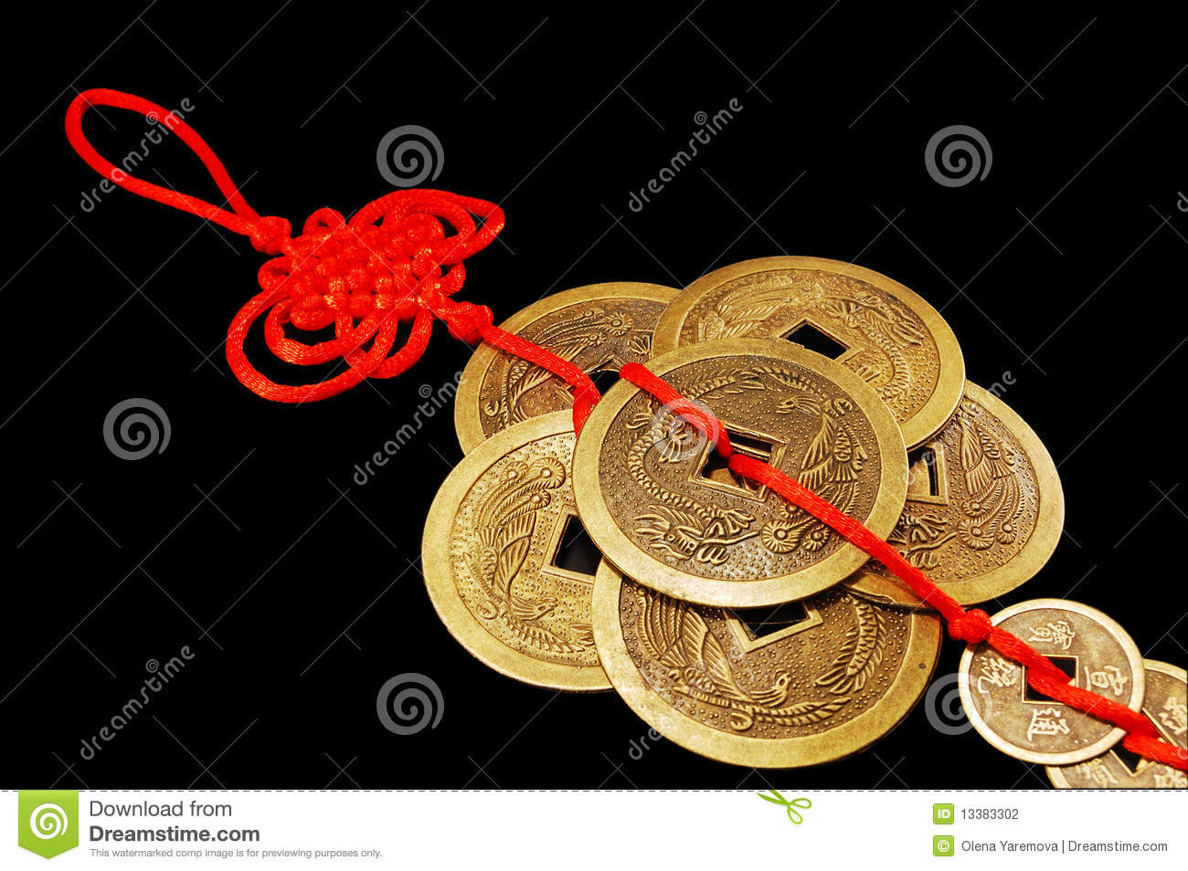 The Symbol Of Feng Shui Six Chinese Coins Stock Photo Image Of