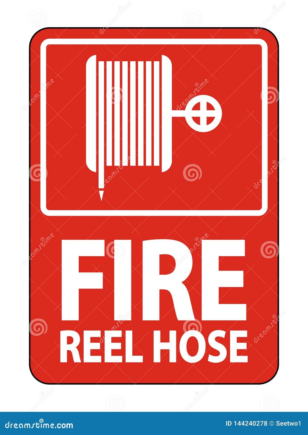 Symbol Feuer-Spulen-Schlauch-Zeichen auf weißem Hintergrund, Vektorillustration