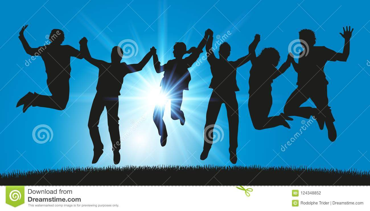 A group of young people jumps for joy holding hands