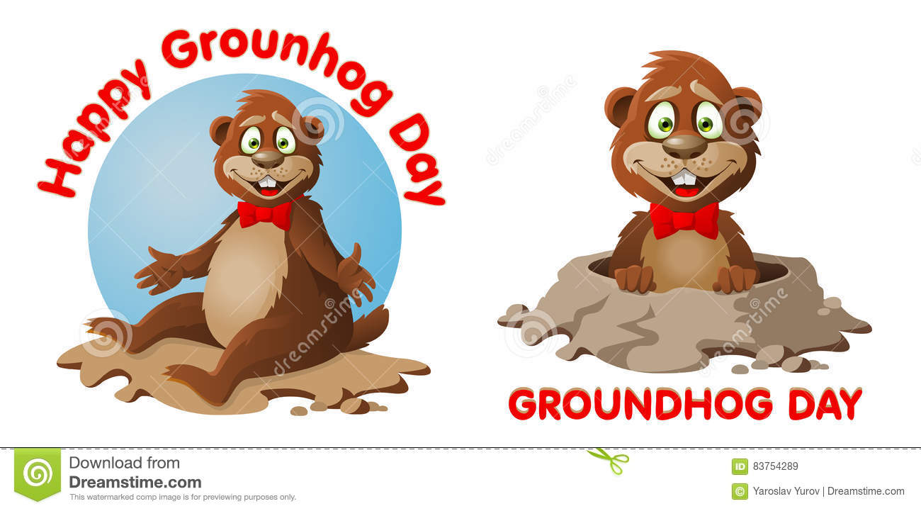 symbol of groundhog day with text stock vector image 83754289