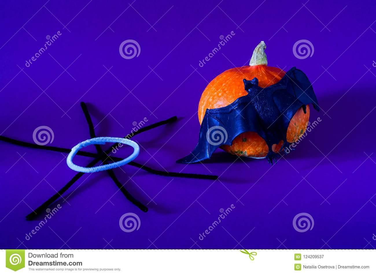 Symbol Of Halloween Is Orange Pumpkin Bat And Black Spiderweb On