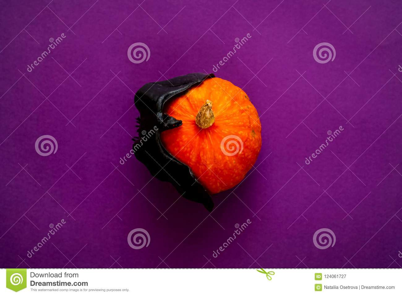 Symbol Of Halloween Is Orange Pumpkin And Bat On Purple Background