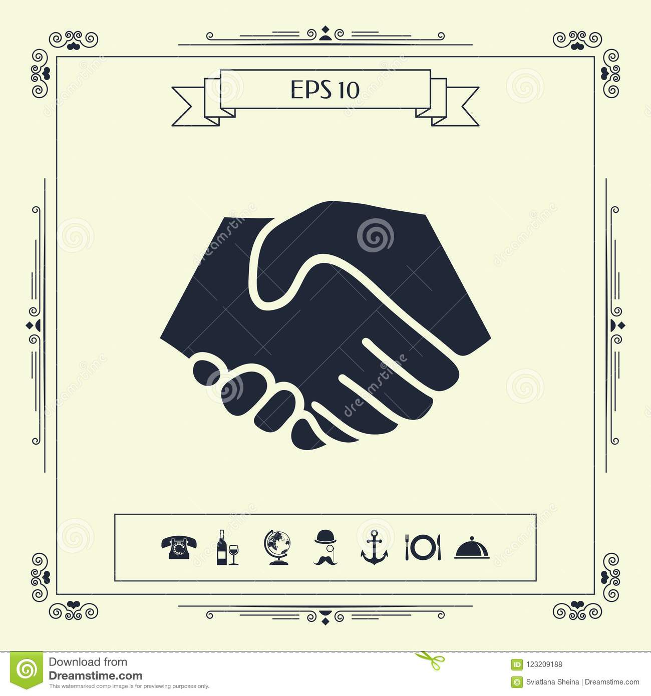 Symbol Of Handshake In Circle Sign Stock Vector Illustration Of